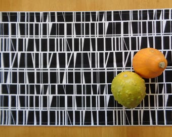 "Cotton Table Runner 12""/18""x 57"" Black & White Geometric Table Runner; Modern Table Cover with Graphic Print; Scandinavian Fabric Runner"