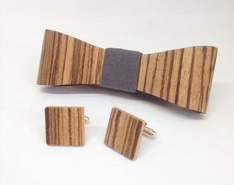 set Wooden Bow Tie - Cufflinks Zebrawood