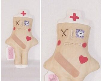 Folk Art Whimsy Nurse Dammit Doll Stress De-Stress Swear Art Doll College Nurse Student Gift Karma Doll ICreateAndCollect