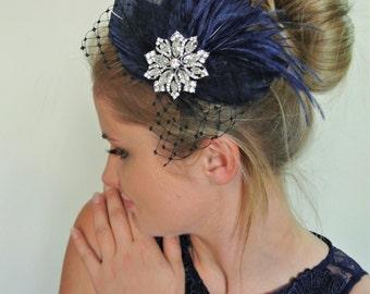 Navy hair clip - Wedding Hair Piece- Feather Wedding Fascinator - Wedding Hair Clip- Mother of the bride- Navy fascinator- 1920s  - GRACE