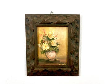 Framed Original Signed Floral Painting on Canvas, Acrylic Art, Wood Handmade Frame, Mexico, Flower Art, Vintage Still Life