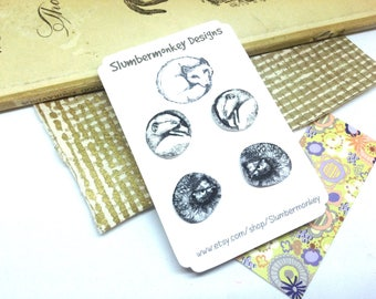 Animal Earrings Set, Shrink Plastic Studs, Gift Idea for Her, Hedgehog and Dormouse Studs, Cute Wildlife Gifts, Illustrated Jewellery Gift.