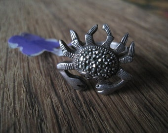 Vintage Sterling Silver And Marcasite Sea Animal Crab Ring Size 8 (337)