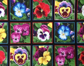 "Pansy cotton panel -- approximately 23"" x 44"""