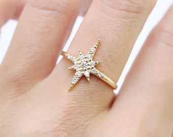 Starburst diamond cluster ring Medium, Star diamond pave ring in solid 14k 18k yellow gold, simple dainty star stacking ring jewelry sb-r102