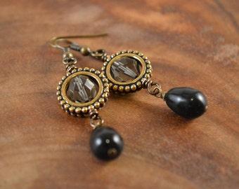 Bohemian Earrings, Black Earrings, Czech Glass Earrings, Bohemian Jewelry, Boho Earrings, Boho Dangle Earrings, Dangle Earrings