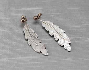 Sterling Silver Earring Jackets - Feather Ear Jacket - Gold and Silver Earring Jacket