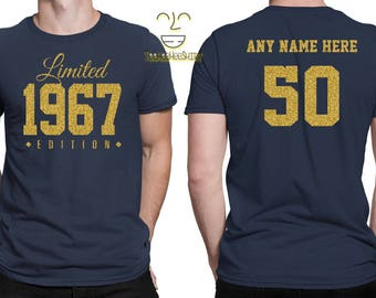 1967 GOLD Limited Edition 50th Birthday Party Shirt, 50 years old shirt, limited edition 50 year old, 50th birthday party tee shirt