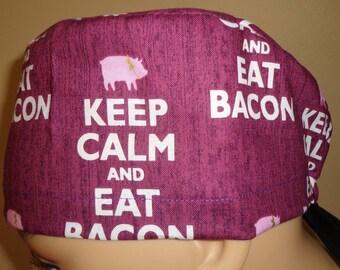 Skull Cap , Tie Back , Scrub Cap ,  cute  pig , bacon , Keep calm and eat bacon