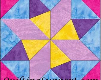 EQ Star 10 Inch Paper Piece Foundation Quilting Block Pattern PDF