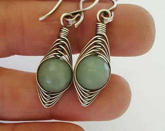 Green aventurine earrings wire wrap earrings silver jewelry earrings green gemstone earrings, wire wrapped earring silver jewelry wire wrap