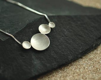 Circles silver Necklace, dewdrops, delicate necklace, minimal Jewelry, silver necklace, organic jewelry, combination of circles