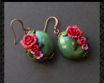 Earrings in handmade - Earrings - Polymer clay earrings - Roses - Vintage - Gift for her - Unique jewelry