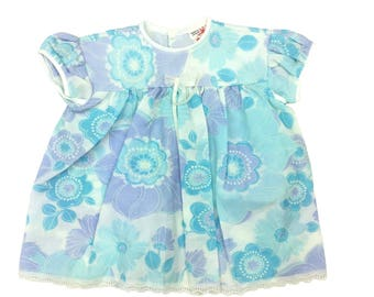 Vintage deadstock baby girls blue flower power dress age 0-3 months