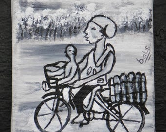 Miniature Painting of Villager Returning from Farm on Bicycle