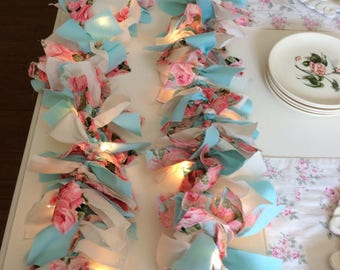 Pink /Aqua Rose Fabric Lighted Garland