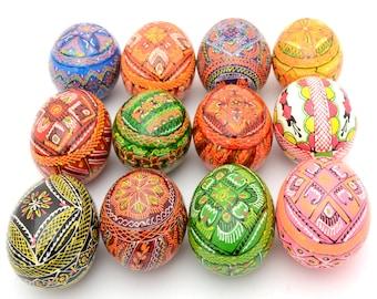 Set of 12 Wooden Ukrainian Pysanky Pysanka Easter Painted Eggs. Polish Pisankі. Czech Kraslice. (art. 2012)