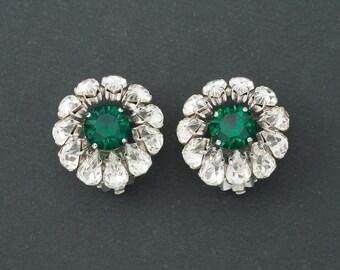 Vintage Christian Dior Earrings  1961 Glass Rhinestones Germany