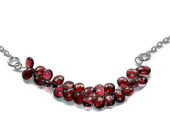 garnet briolette necklace