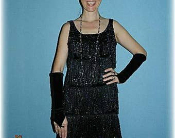 1920's Gatsby Style Fringed Flapper Dress Plus Size and Accessories