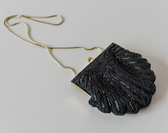 Vintage Small Black Beaded Clutch Purse
