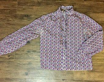 Vintage 80s purple patterned ruffled blouse