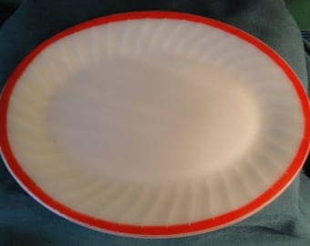 Vintage Anchor Hocking Fire King Sunrise Swirl Oval Serving Platter, Ivory Platter, Red Trim Serving Platter