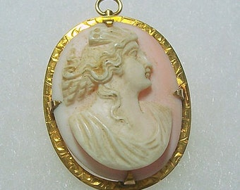 Vintage Pale Pink and White Coral Cameo 10K