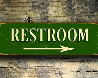 Restroom Sign with Arrow, Restroom Signs, Vintage style Restroom Sign, Directional Restoom Sign, Restroom Door Sign, Restroom Wall Sign