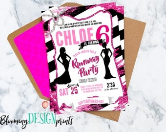 Fashion Show Runway, Glitz and Glam, Sweet and Sassy Birthday Invitation