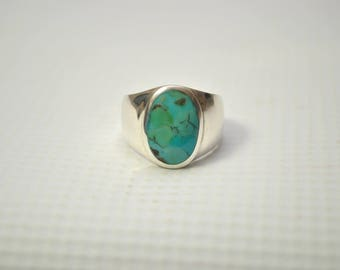 Sterling Silver Men's Turquoise Ring Sz 9 #7223