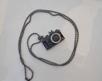 Enameled Metal Camera Necklace with Dog Tag