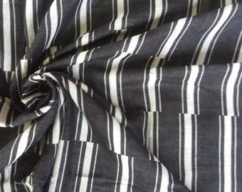Thai Double Gauze. Black staggered stripe. 1 metres/1.1 yards