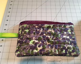 Hand made purple and green large zippered cosmetic/kindle/diaper/anything bag