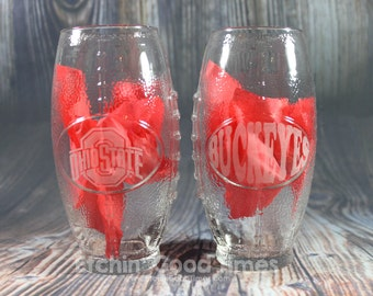Ohio State Shaped Football Glass - Football Shaped Ohio State University Officially Licensed Glass set of 2