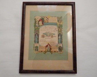 Antique Framed German Lutheran Confirmation Certificate - c.1910 Brillion Wisconsin - Lithograph from Concordia Publ House - St. Louis