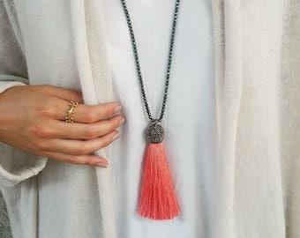Hematite & Tassel Necklace. Coral, Pink, Turquoise, Black and Olive Green Tassels. Adjustable Necklace.