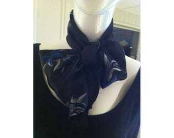 Navy Scarf with Blue and Silver Flowers Vintage 1960s Tie Scarf Head Wrap Sash or Upcycle