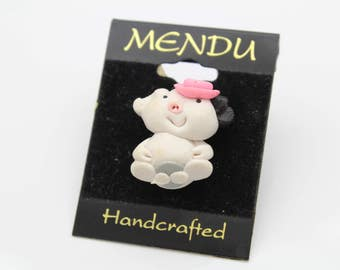 Handcrafted Adorable Piglet Brooch in Clay by MENDU Made in Poland. [12212]