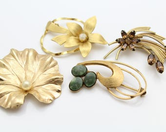 Lovely Lot of 4 Vintage Gold Filled Classic Gemstone Brooches - All Signed. [12379]