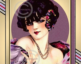 Gorgeous Art Deco Print, Henry Clive, Rare Smart Set Girl, Flapper Viven, Necklace,Jewelry, Flowers, Jazz Age,Giclee Fine Art Print,11x14
