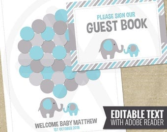 baby shower guest book alternative blue elephant guest book guest