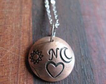 Initial Charm Necklace the letter N