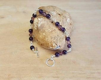 Purple Amethyst bracelet. Crystal Jewelry uk. February birthstone bracelet. Silver plated wire wrapped bracelet