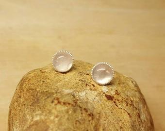 Sterling silver pink Rose Quartz earrings. Stud earrings. Reiki jewelry uk. January Birthstone. Post earrings. 8mm stone