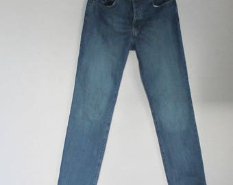 Vintage  YSL Yves Saint Laurent Jeans Pant  High Waist Blue Denim  Washed Out Grunge   Trousers
