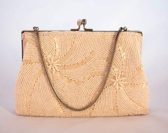 15% Off Code - Glass Bead Swirl Clutch Evening Purse Handbag Wedding Engagement Cream White Kiss Clasp Midcentury 1950's 50s 60s Handmade