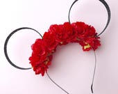 Red Flower Crown and Black Glitter Mouse Ears Headband