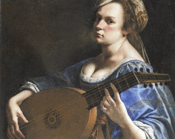 Custom portrait of you as an historical artwork, hilarious birthday gift for women, personalized oil painting, woman playing the lute