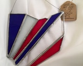 Ohio Stained Glass Wall Or Window Hanging / Red White and Blue